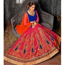 Blue Orange Net Bridal Lehenga Choli
